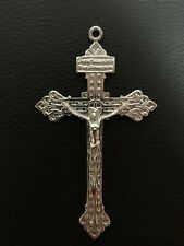 Large Fine Silver 19th Century Pardon Crucifix USA Pius X Indulgence .925