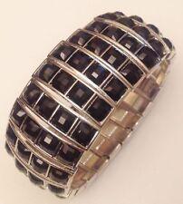 bracelet large cabochon noir facette support extensible couleur argent 5358