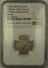 1792 Austria Vienna-Buda Silver Franz II Coronation Token 20mm NGC MS-61