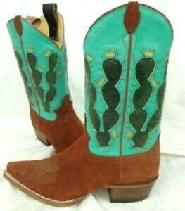 "Justin Women's Cowboy Boot ""Pearce'd Tobacco"" (Cowboy Cactus) - USW 11B - New"