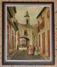 1997 JUSTO Ramon BULIT Oil Painting.Colonial Havana.Cuba art.Arte Cubano
