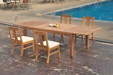 """5pc Grade-A Teak Dining Set 122"""" Caranas Rectangle Table Osborne Armless Chair"""