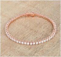 "Vintage 1920s 9 Ct Round White Cut Diamond 14k Rose Gold Over 7"" Tennis Bracelet"