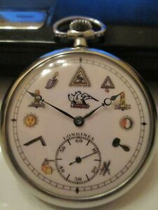 VINTAGE LONGINES MASONIC DIAL  pocket WATCH cal. 37.9 swiss MADE