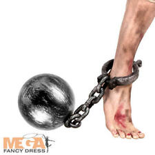 Ball and Chain Fancy Dress Prisoner Convict Robber Adults Costume Accessory New