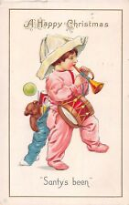 Christmas postcard child with toys trumpet drum teddie bear Santy's Been 1915