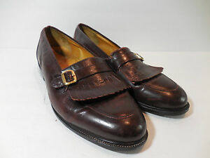 Mens Dexter loafer brown leather slip on dress shoes 9.5 W Italy Gold Buckle