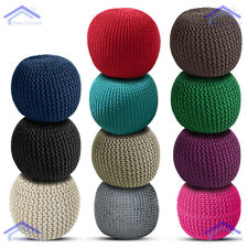 Large Round 100% Cotton Knitted Pouffe Ball Foot Stool Braided Cushion Seat Rest