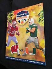 Capital One Orange Bowl 2017 Wisconsin Badgers vs. Miami Hurricanes Program