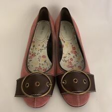 ea6513e60cb Miu Miu Pink And Brown Suede Leather Round Toe Flats Shoes Size 39