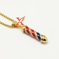 """24"""" 3MM Mens Iced Out Stainless Steel Gold Barber Shop Pole Pendant Necklace"""