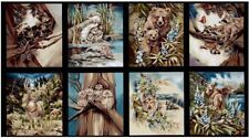 NEW 8 WILDLIFE PANELS WOLVES RACCOON BEAR MOOSE FOR QUILTS HOME DECOR STYLE #5