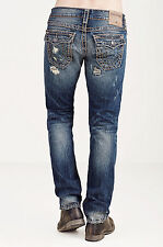 NWT TRUE RELIGION Sz36 GENO RELAXED SLIM W/FLAP SUPER T JEANS PATCHED RECRUI$379