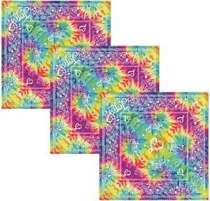 "[3-Pack] Jojo Siwa 22"" Square Tie Dye Girl's Bandana Scarf Set"