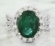 6.86 Carat Natural Emerald 14K White Gold Diamond Ring