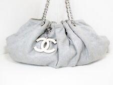 Authentic CHANEL Gray Melrose Cabas Cotton Jersey Shoulder Bag w/ Dust Bag