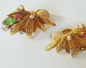 Vintage CHRISTIAN LACROIX PARIS JEWELLED RHINESTONE GOLD EARRINGS