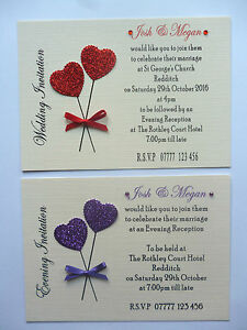 Sample Hand made Wedding/Anniversary/Birthday Invitations A6 with Heart Balloons