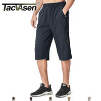 TACVASEN Quick Dry Capri Pants 3/4 Hiking Pants Long Shorts W/ 2 Zipper Pockets