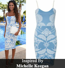 Celebridad inspiró Azul mujeres señoras sin mangas Bodycon Midi Vestido Talla Grande