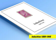COLOR PRINTED INDOCHINA 1889-1949 STAMP ALBUM PAGES (35 illustrated pages)