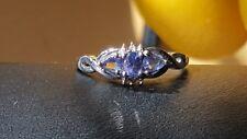 Vintage 10 k white gold tanzanite and diamond ring. 7