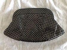 Lauren Merkin Lucy Black/Gold Lambskin Clutch Bag Purse $295 Textured