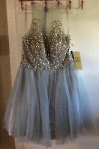 Aspeed Design Formal Evening Prom Wedding Sequin Dress Short Large Gray Silver