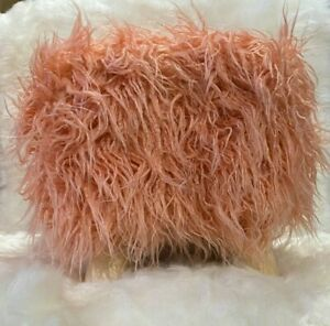 Shabby Chic SOFT PEACH Faux Fur Foot Stool Pouffe ottoman wooden Square