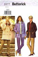 Misses Butterick PATTERN 3577 Loose Fit Lined Jacket Pockets Pants 6 8 10