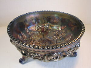 Antique Imperial Blue Luster Rose Carnival Glass Fernery Footed Bowl