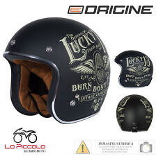 CASCO VINTAGE JET MOTO CUSTOM ORIGINE FLYING WHEEL BLACK MATT NERO OPACO TG. M