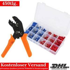 450tlg Kabelschuhe Crimpzange Sortiment Box Flachstecker Quetschverbinder EA 06