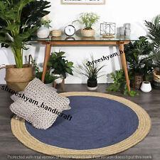 "3""Feet Blue Indian Braided Jute Floor Round Rug Purely Handmade Natural  Rug Mat"