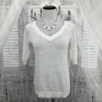 LOFT Ann Taylor Small Sweater Short Sleeve Linen Cotton Loose Knit Pullover B54