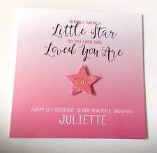 Personalised Star 1st Birthday Card Daughter Granddaughter Niece 2nd 3rd 4th