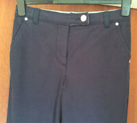 "M&S Per Una Size 6 Medium Straight Leg Cotton Rich Trousers Navy New 30""L"