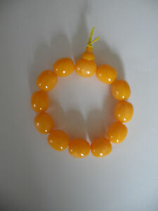 Chinese Yellow Beaded Bottle Gourd Lucky Charm Elasticated Decorative Bracelet L