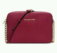 Nu Michael Kors Jet Set Travel Large Crossbody Messenger Cherry Red Handbag Bag
