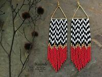Twin Peaks/minimalist earrings/summer earrings/Minimalist Earrings/Fringe/Bead