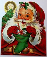 UNUSED Santa Claus Stocking Die-Cut Vintage Mid-Century Christmas Card B101