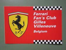 auto-collant FERRARI FAN CLUB GILLES VILLENEUVE Belgium sticker