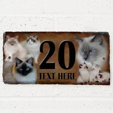 Personalised Ragdoll Cat Door House Slate Sign Name Number Plaque
