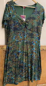 Joe Browns Green Floral Print Midi Fit & Flare Dress 16uk New with tags