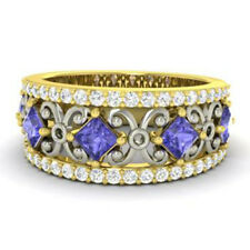 1.40 Ct Real Diamond Tanzanite Wedding Band 14K Yellow Gold Ring Size 5 6 6.5 7