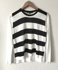 Womens Generation Love White Black Stripes Knit High Low Sweater SZ S Made in US