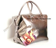 MARIAH CAREY DESIGNER PEWTER SILVER SHOPPER TOTE SLOUCH BAG SOFT FAUX LEATHER