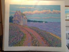 Bruce Wood Limited Edition Serigraph Morning Song 7/175 Beach Sailboats House