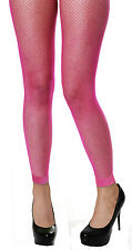 ADULT FISHNET NEON BRIGHT FOOTLESS TIGHTS YELLOW, ORANGE, PINK OR GREEN ONE SIZE