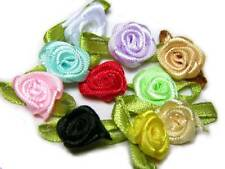 100 rose flower ribbon satin appliques trim lot mix